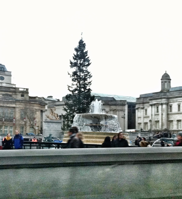The fountain in Trafalgar Square and the christmas tree given to England by the Norwegians annually
